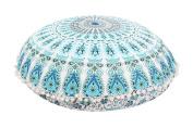 Large 80cm Round Pillow Cover, Decorative Mandala Pillow Sham, Indian Bohemian Ottoman Pouffes, Pom Pom Pillow Cases, Outdoor Cushion Cover
