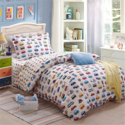 3 Pieces Steady Stream Kids Trains Planes Trucks Duvet Cover Sets Fit Twin Full