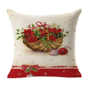 FEITONG Christmas Linen Square Throw Flax Pillow Case Decorative Cushion Pillow Cover