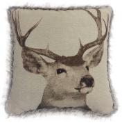 Tapestry Stag 43cm x 43cm Cushion Cover Faux Fur Trim Edge