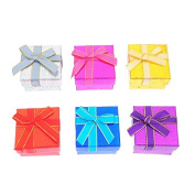 Hoomall 6 pcs Square Jewellery Box Storage Bowknot Ring Earring Jewellery Paper Gift Box