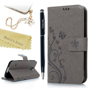 S5 Case ,Galaxy S5 Case, Mavis's Diary PU Leather Wallet Cover Magnetic Closure Flip Case [Butterfly & Flower Embossed] Cover with Card Slots & Stand with One Dust Plug & One Stylus Pen and cleaning cloth for Samsung Galaxy S5 i9600 - Grey