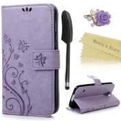 Galaxy S5 Case ,Galaxy S5 Neo Case - Mavis's Diary PU Leather Wallet Flip Cover Magnetic Closure Bumper Case [Butterfly & Flower Embossed] with Card Slots & Stand + 1 × Purple Flower Dust Plug + 1 × Black Feather Touchscreen Stylus Pen and cleaning clo ..