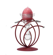 Red | Metal and Glass Candle Holder | Table Centrepiece | Including Free Egg Shaped Candle