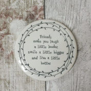East of India Porcelain Leaf Coaster - Friends make you laugh a little louder smile a little bigger and live a little better - NEW STOCK 2016