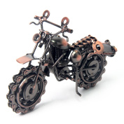 Signstek Vintage Handcrafted Iron Motorbike Model with Chainwheel as Collectible Art Sculpture for Motorcycle Lovers, Bronze Tone Metal