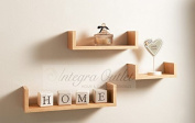 Set Of 3 Different Sizes U Shaped Wooden Floating Shelf Available in black,White (Oak) by dy & dx