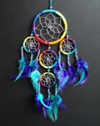 DREAM CATCHER RAINBOW multi coloured silver web DREAMCATCHER