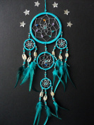 DREAMCATCHER TURQUOISE BLUE COWRIE SHELL DREAM CATCHER