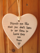 New Ceramic Hanging Heart - Friends are like Stars