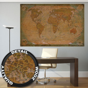 Historical World Map Poster XXL - wall picture decoration globe antique vintage world map used atlas map old school | Wallposter Photoposter wall mural wall decor by GREAT ART