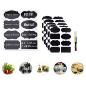 Chalkboard Labels,Reusable Blackboard Sticker Craft Kitchen Jar Organiser with Highlighter Aqueous for Mason Jars, Wine Glasses,Sauce jar and More Black