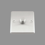 A5 Light Dimmer Switch 1 Gang 1000W (Max) - Satin Brushed Chrome - Classic - 2 Way Push On/Off