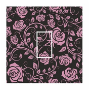 Sticar-it Ltd Pink & Black Classic Rose Floral Pattern Light Switch Sticker vinyl cover skin decal For Any Room