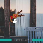 Christmas Reindeer Stickers - Snowflakes windows stickers - 25x24 cm Santa's Reindeer