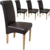 Set of 4 Faux Leather Roma Scroll Top Dining Chairs Brown With Padded Seat & Oak Finish Legs