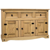 Home Discount® Corona 3-Door 3-Drawer Sideboard Solid Waxed Pine Mexican Furniture