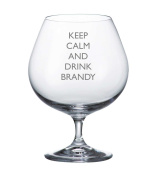 Bohemia Crystal Brandy Glass With Keep Calm and Drink Brandy Design