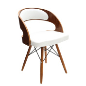 Premier Housewares Walnut Veneer and Leather Effect Occasional Chair - White
