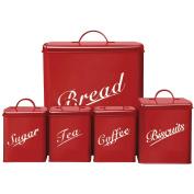 Chef Vida Biscuits/Tea/Coffee/Sugar/Bread Bin Kitchen Storage Canister Set, Metal, Red, 5-Piece