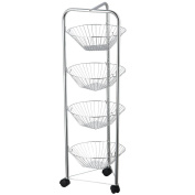 Chef Vida 4-Tier Kitchen Vegetable Fruit Basket Storage Trolley/Rack Stand with Wheels, Metal, Chrome