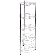Chef Vida Five Tier Kitchen Pan Stand, Metal, Silver