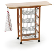 Arredamenti Italia AR_IT- 518 GASTONCINO Kitchen Trolley Serving, Shelves Metal and openable upper plan. Cherry wood finishing.