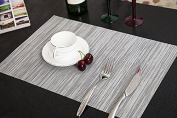 Addfun®Table Mats Set of 6,New PVC Insulation Non-slip Insulation Washable Placemats Grey