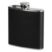 180ml Stainless Steel Hip Flask Black Faux Leather