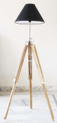 Vintage Wooden Lamp Stand Shade Floor Tripod Adjustable Teak Tripod Lamp Silver