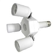 Firstmall 3 in 1E27 to 3*E27 Standard Medium Base Light Bulb Socket Horizontal Splitter Adapte White