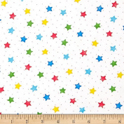 Comfy Flannel Stars White/Primary Fabric By The Yard