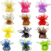 24 Organza Cute Assorted Colours Gift Bags Party Favour Fabric Treat Goody Pouches