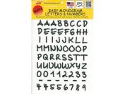 Joy JOY8315 Monogram Baby Letter Iron On Sheet, 1.3cm , Black