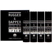 Moisture Fix Lip Balm For Men - 4 Pack - All Natural & Certified Organic - Fresh Eucalyptus Mint Flavour - RUGGED & DAPPER