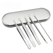 1Set Silver Professional Remove Blackheads Tweezers and Pins Set Stainless Steel Bend Curved Blemish Extractor Tool for Acne Remover Blackhead Needle Squeeze Blain