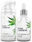 InstaNatural Hyaluronic Acid Serum & Vitamin C Moisturiser Nourishing Skin Bundle Pack - For Dry Skin, Anti Ageing & Deep Hydration for Sensitive Skin, Wrinkle Reducing Formula