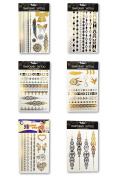 Metallic Temporary Tattoo, 6 Sheets
