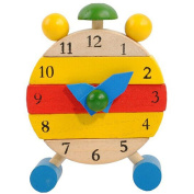 Wooden Clock Toys, Misaky Hand Made for Kids Learn Time Clock Educational Toys