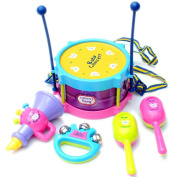 5pcs Kids Baby Roll Drum, Misaky Musical Instruments Band Kit Children Toy