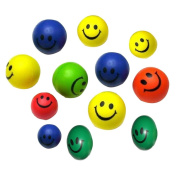12 PCs Neon Balls, Misaky Mini Smile Face Relaxable Toy