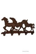 36cm Horse Cowboy Wild West Rustic Cast Iron 5-Hook Coat Hat Key Rack Wall Decor