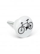 Set of 6 Bicycle Ceramic / Metal Drawer Pull Cabinets Knobs
