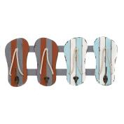 Urban Designs 7722055 Vintage Flip-Flops 60cm Wide Coastal 4-Hook Wall Coat Rack, Flip/Flops