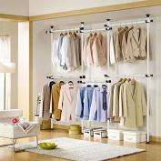 Asunflower Adjustable Clothes/Garment Racks 2-Tier Steel Pipe Coat Hangers Heavy-Duty Ivory