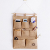 Huayoung (35cmX49cm) Cotton & Linen Multi-pockets Wall Storage Bags Door-back Hanging Shelves