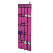 Kaimao 20 Pockets Door Hanging Shoe Organiser Bag Space Saver Rack Wardrobe Hook Rose Red