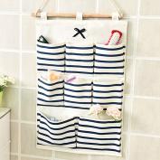 Kaimao Linen/Cotton Fabric Wall Door Closet Hanging Storage Bag Case Home Organiser 8 Pockets Blue