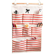 Kaimao Linen/Cotton Fabric Wall Door Closet Hanging Storage Bag Case Home Organiser 8 Pockets Red
