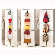 2 Row CapRack 16 Hooks Cap Hat Bag Storage Clothes Coat Holder Rack Organiser Over Door Straps Hanger
